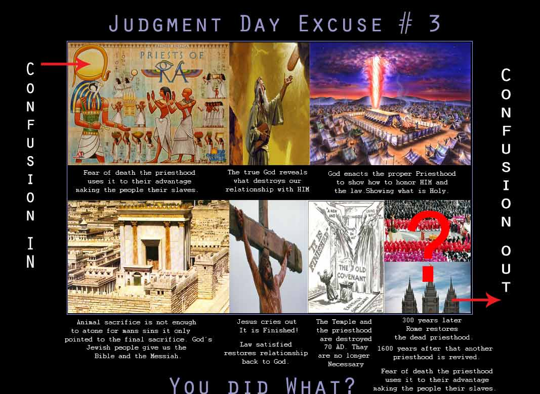The purpose of light is to expose darkness and set the lost free. Satan began the priesthood in Babylon. G-d shows what it is that pleases HIM the only G-d, once the Exodus takes place. At the cross, the final sacrifice is made, and G-d ended the priesthood; its purpose served. So who brought it back 300 years after it ended?